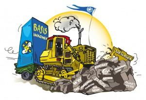 Cartoon over basisinkomen